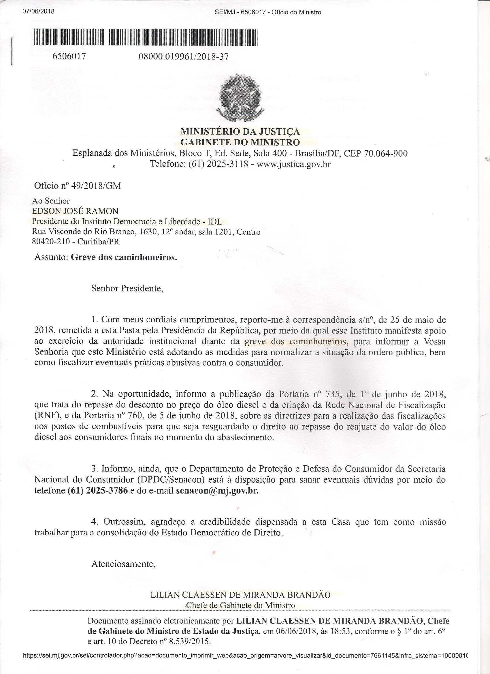 CARTA RESPOSTA RECEBIDA