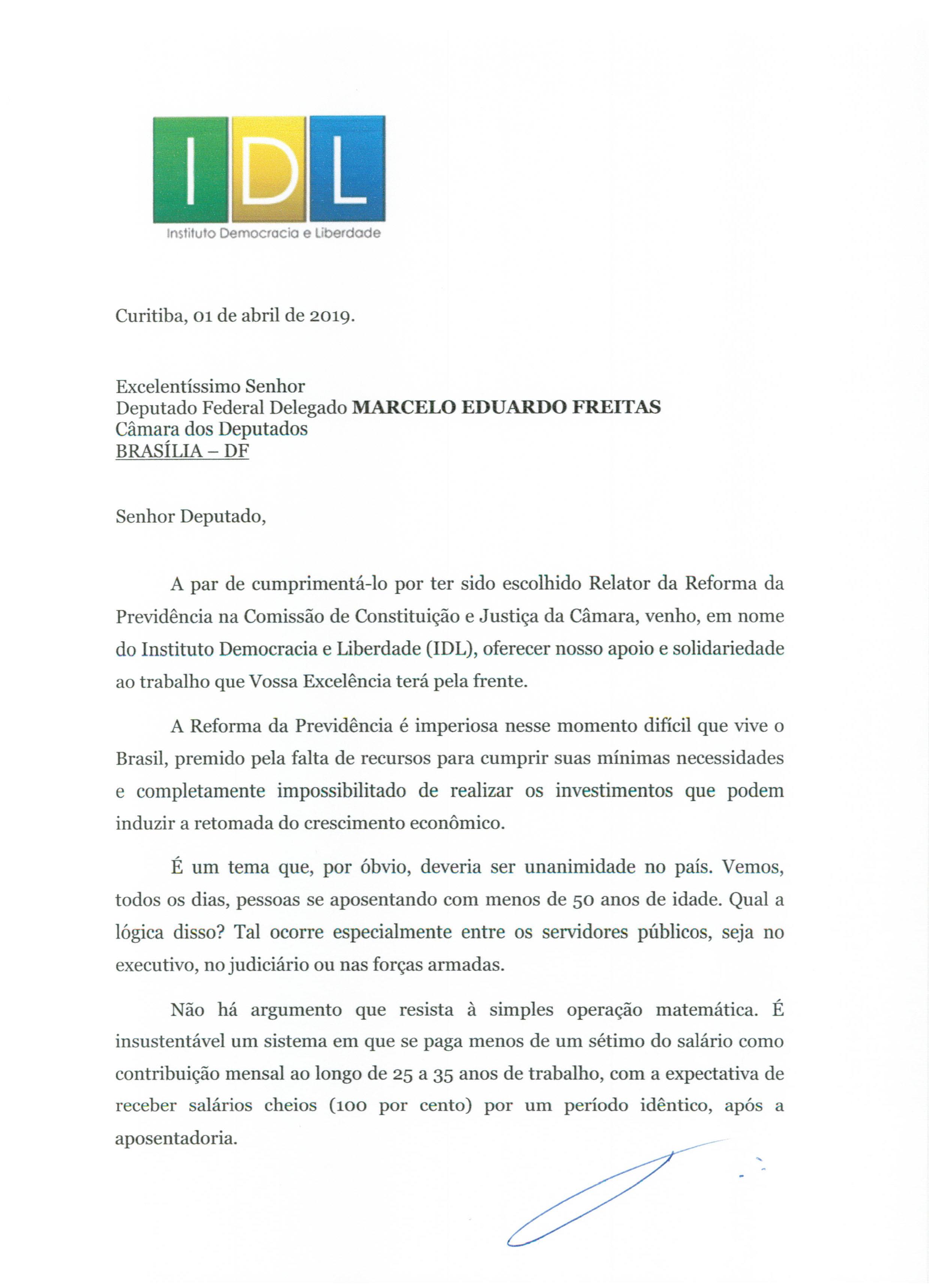 Carta IDL ao Deputado Federal Delegado MARCELO EDUARDO FREITAS-1
