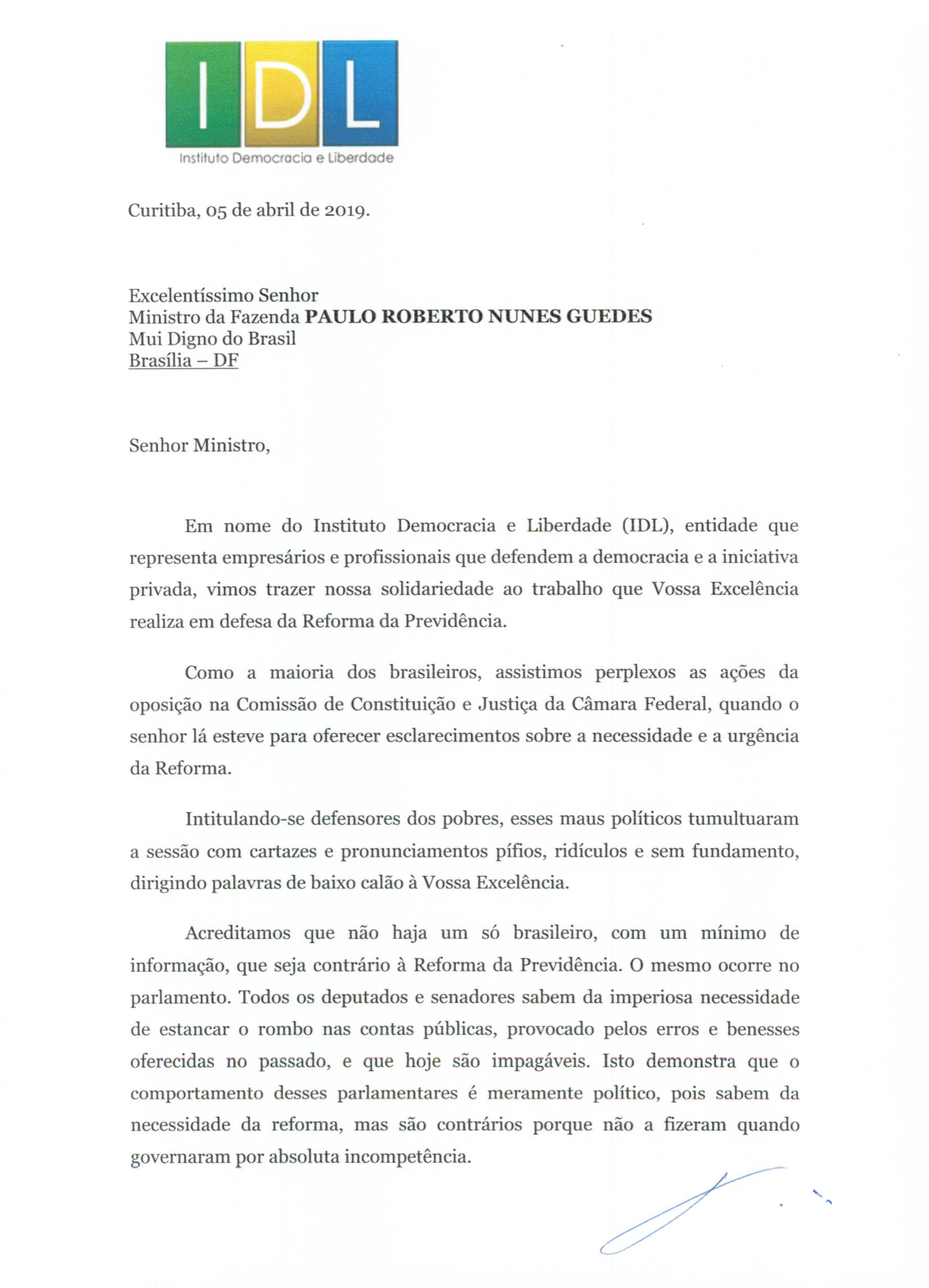 IDL - CARTA AO MINISTRO PAULO GUEDES 05_04_2019-1