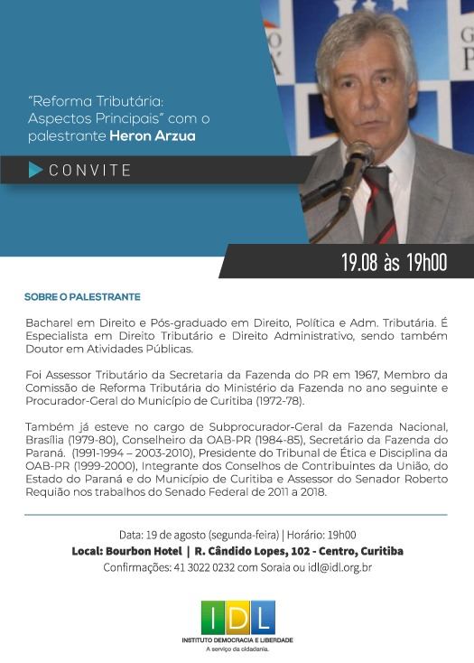 Convite oficial Heron Arzua