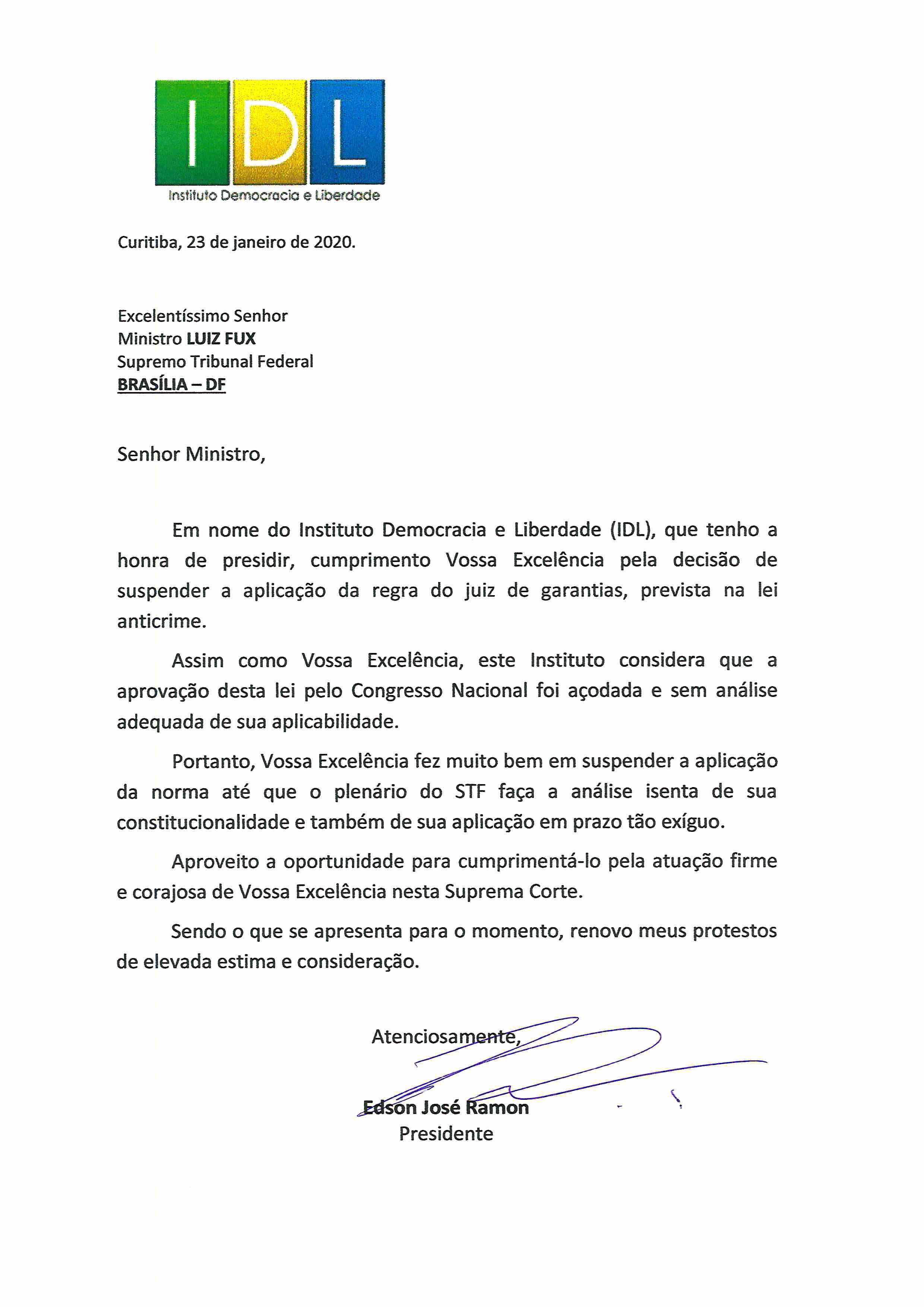 CARTA IDL AO MINISTRO LUIZ FUX 23_01_2020