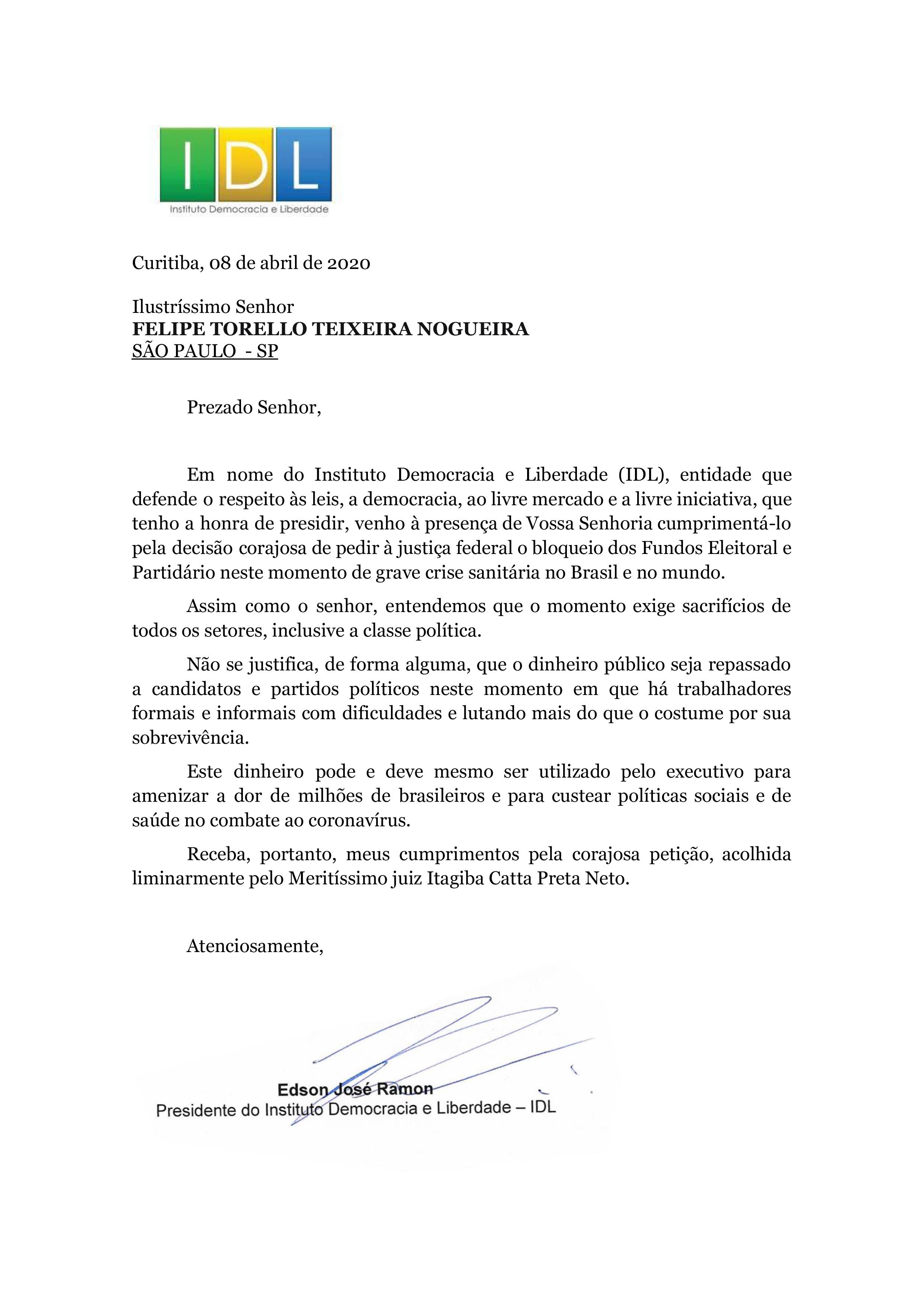 Carta ao advogado contra fundo eleitoral