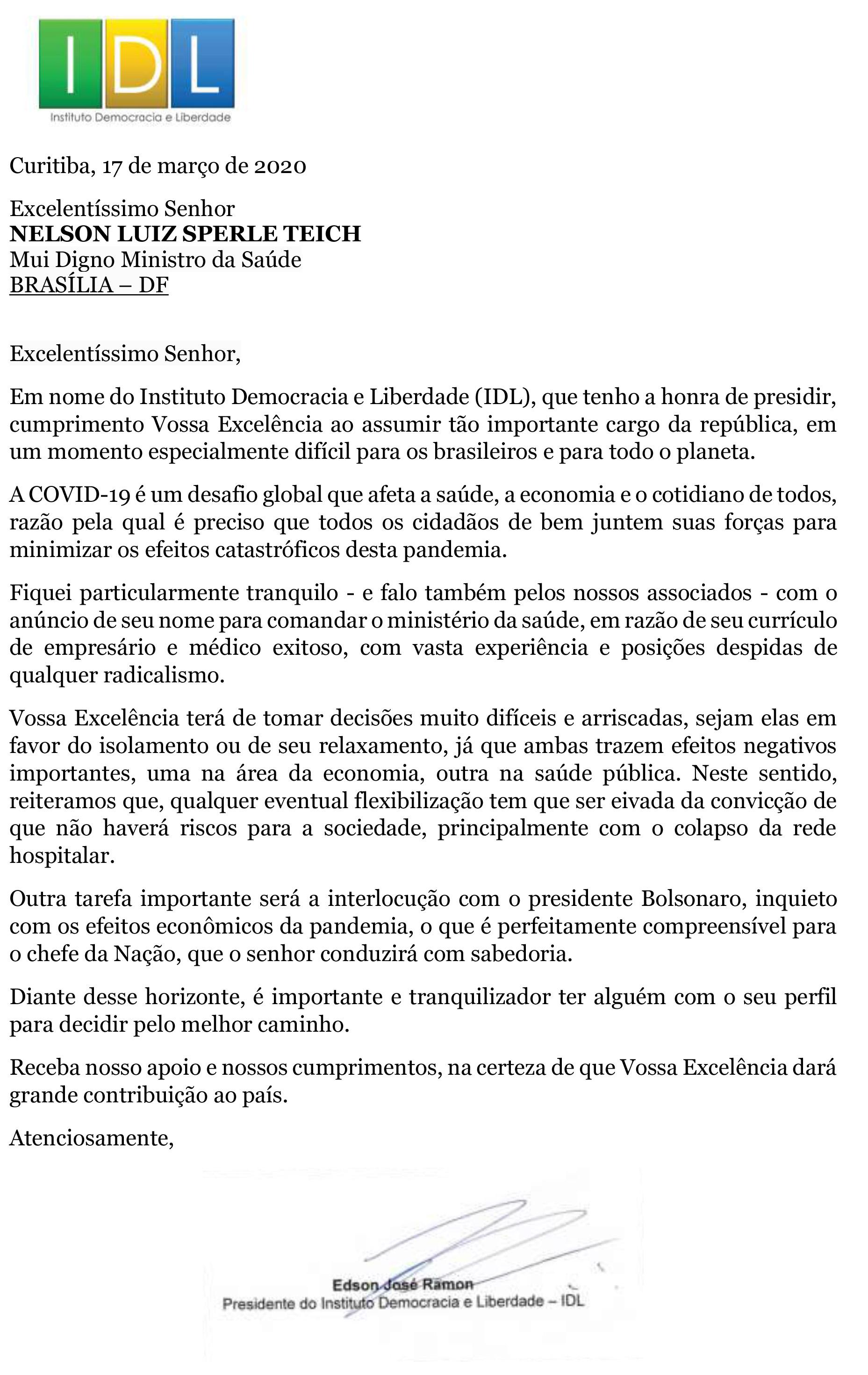 Carta ao novo ministro da Saúde