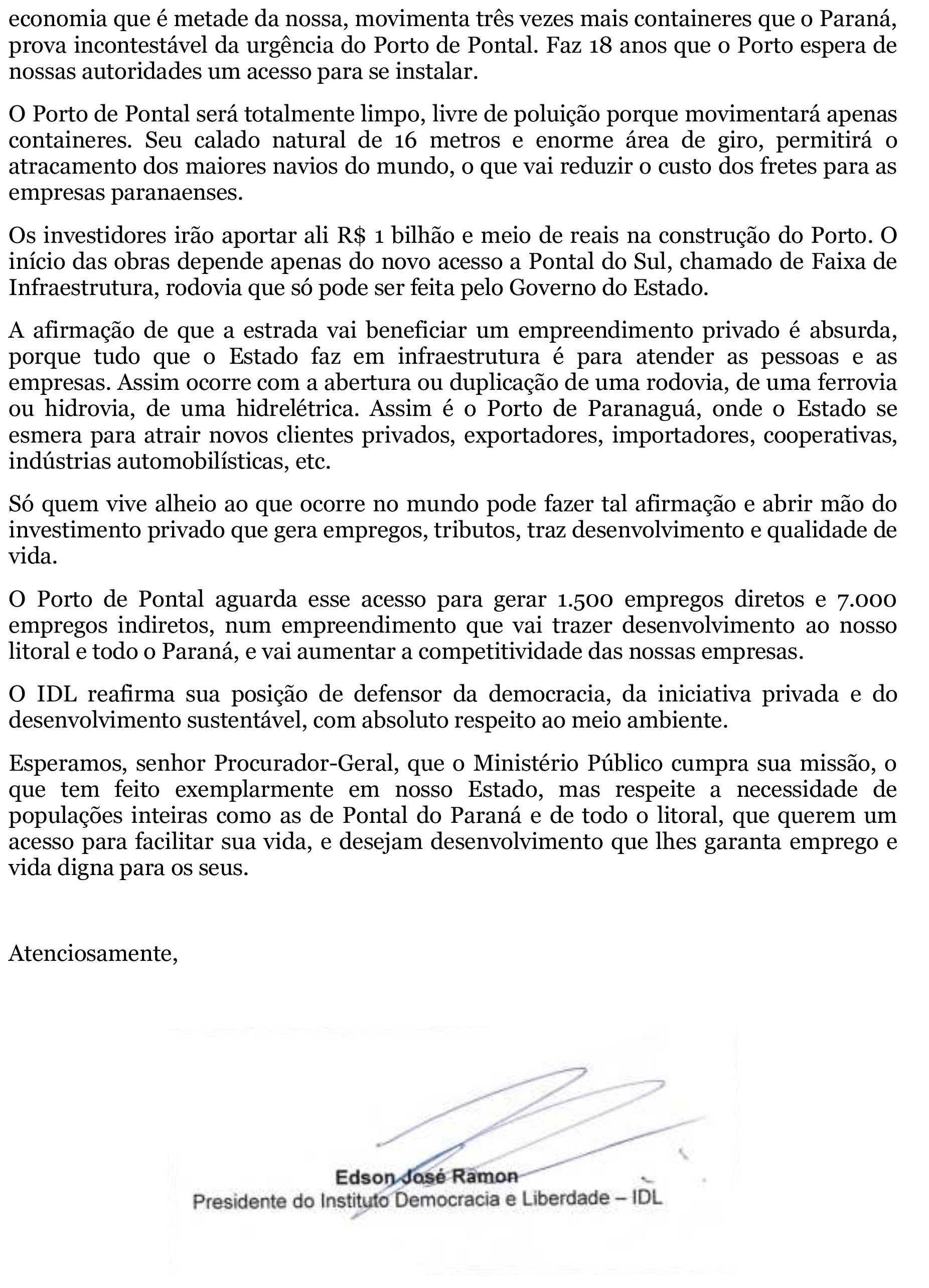 Carta defendendo o Porto de Pontal REVISADA III-2