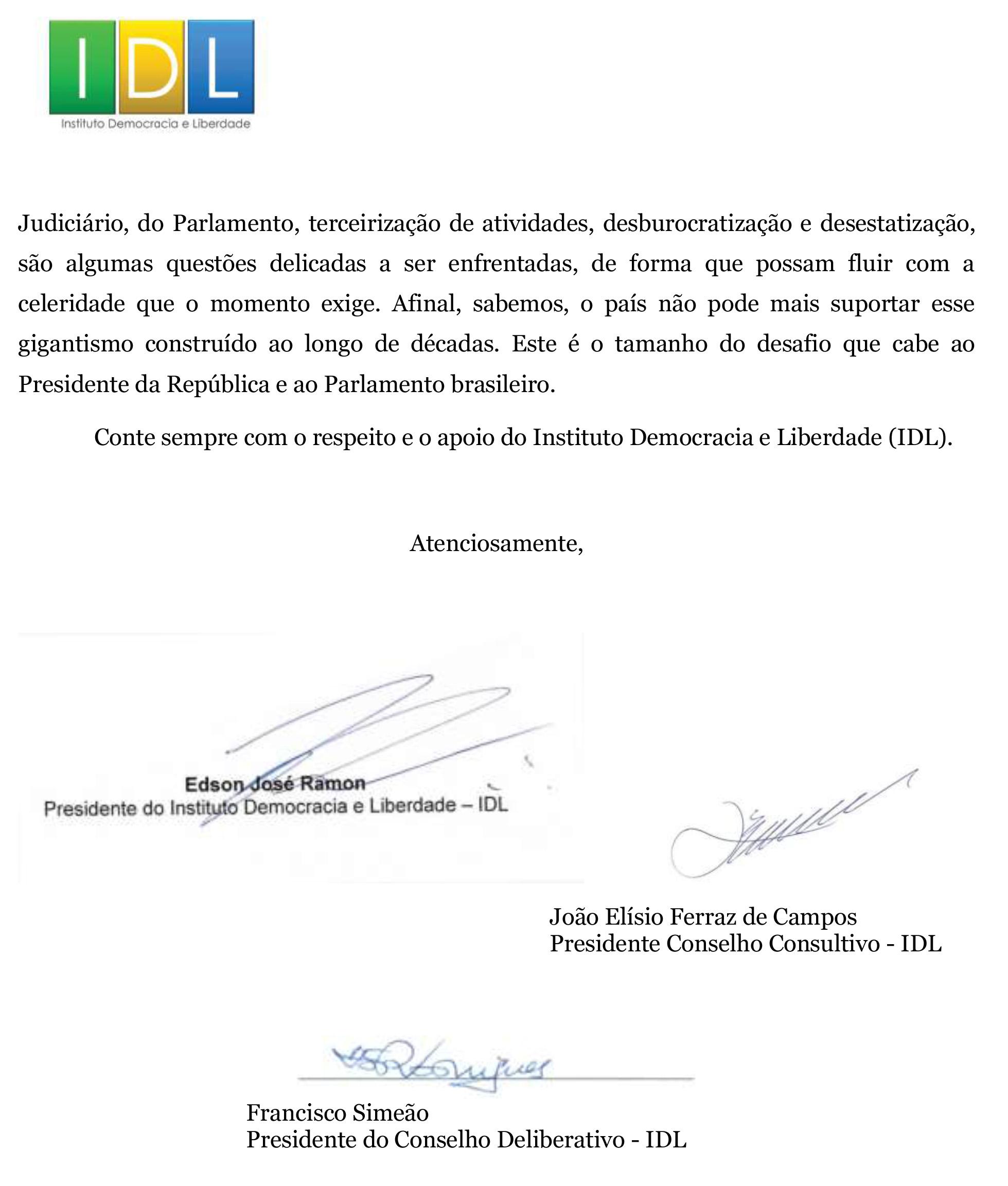 IDL - Carta Ricardo Barros - líder do Governo na Câmara Federal - 24 AGO 20-2
