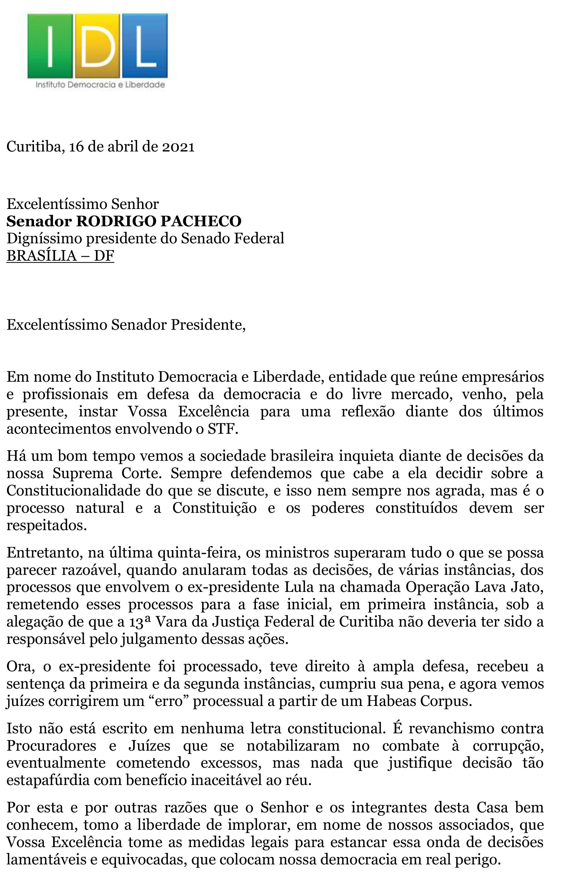 IDL - Carta a Rodrigo Pacheco, presidente do Senado-1